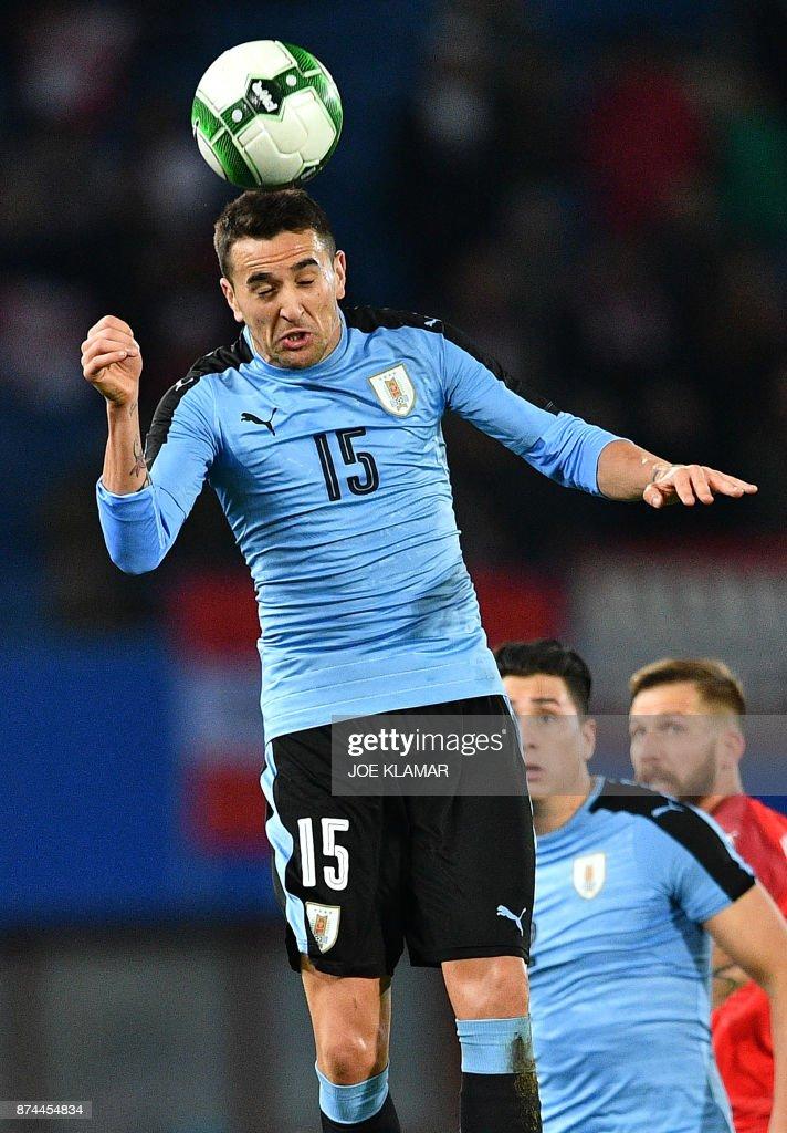 Uruguay's Matias Vecino heads the ball during an international friendly football match between Austria and Uruguay in Vienna, Austria on November 14, 2017. /
