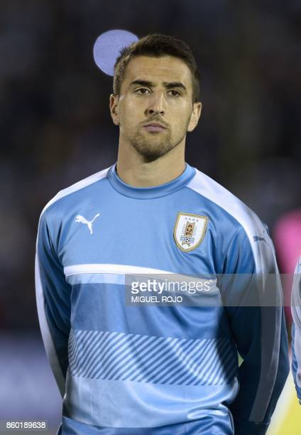 Uruguay's Matias Vecino poses before the 2018 World Cup football qualifier match against Bolivia in Montevideo on October 10 2017 / AFP PHOTO /...