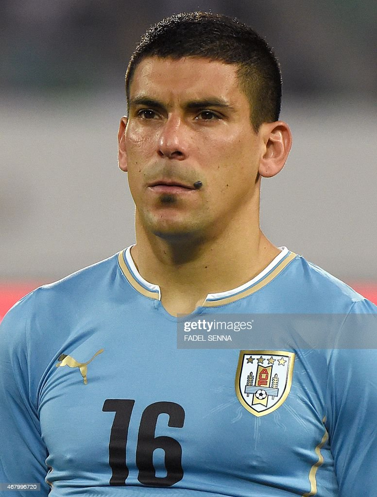 Uruguay's Maximiliano Pereira looks on during the friendly match between Morocco and Uruguay in Agadir on March 28, 2015.