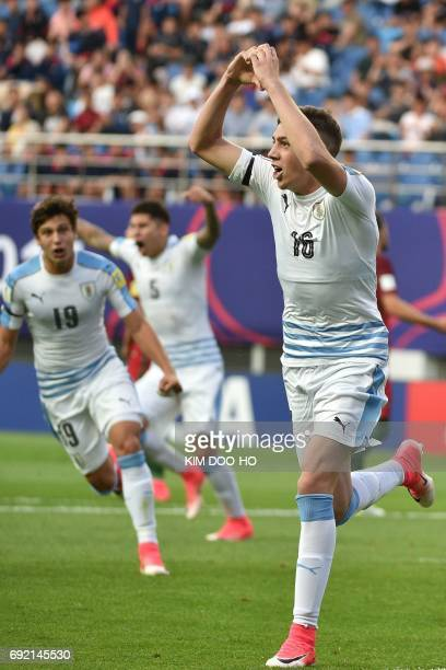 Uruguay's midfielder Federico Valverde celebrates scoring during their U20 World Cup quarterfinal football match between Portugal and Uruguay in...