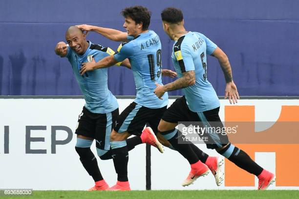 Uruguay's midfielder Nicolas De La Cruz celebrates a goal during the U20 World Cup semifinal football match between Uruguay and Venezuela in Daejeon...