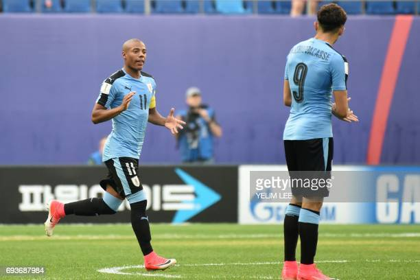 Uruguay's midfielder Nicolas De La Cruz reacts during the U20 World Cup semifinal football match between Uruguay and Venezuela in Daejeon on June 8...