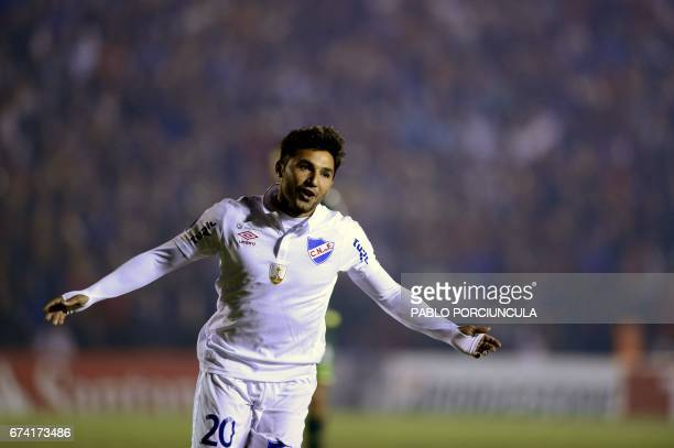 Uruguay's Nacional forward Tabare Viudez celebrates his goal against Brazil's Chapecoense during their Copa Libertadores 2017 football match at Gran...