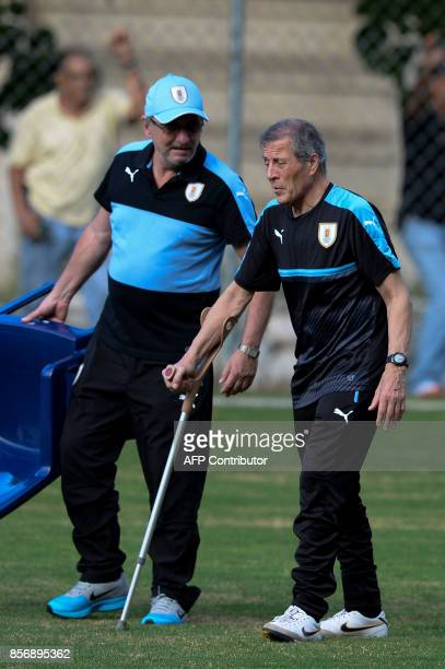 Uruguay's national football team coach Oscar Washington Tabarez commands a training at the Puerto Azul Club field in La Guaira Venezuela on October 2...