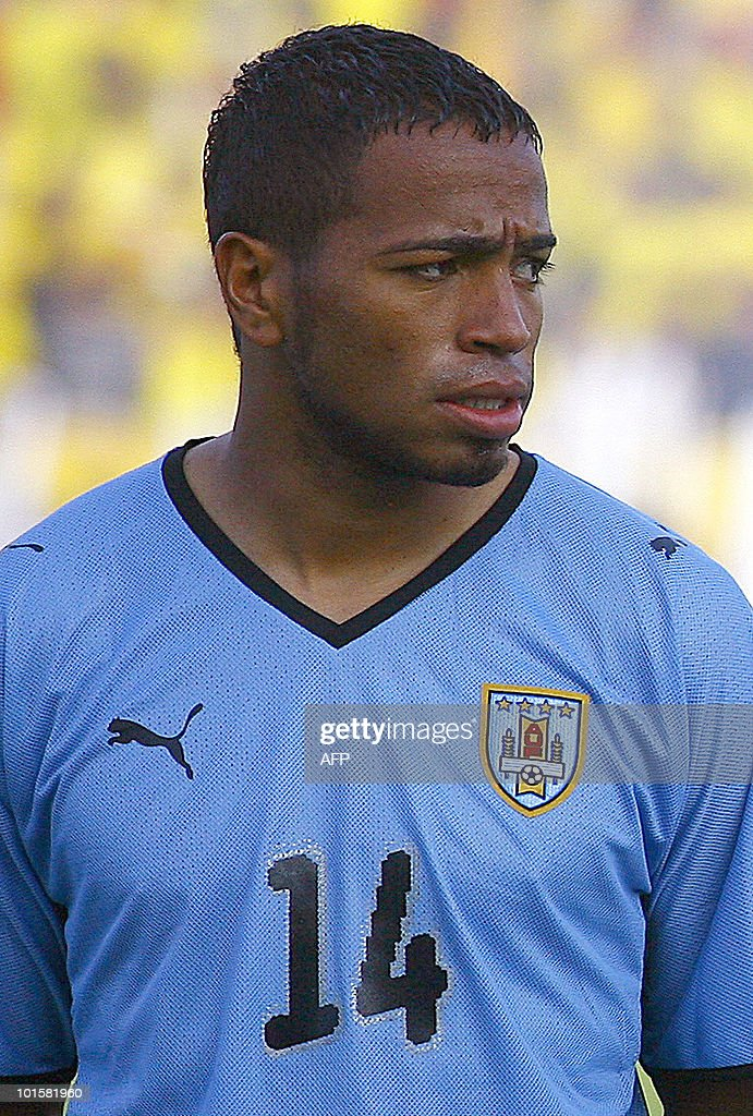 Uruguay's national football team player Alvaro Pereira stands during the official picture before their FIFA World Cup South Africa-2010 qualifier football match against Ecuador, at Atahualpa Stadium in Quito, Ecuador on October 10, 2009.