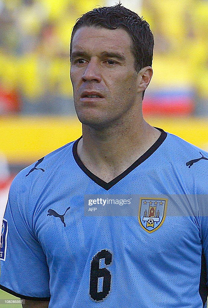 Uruguay's national football team player Andres Scotti stands during the official picture before their FIFA World Cup South Africa2010 qualifier...