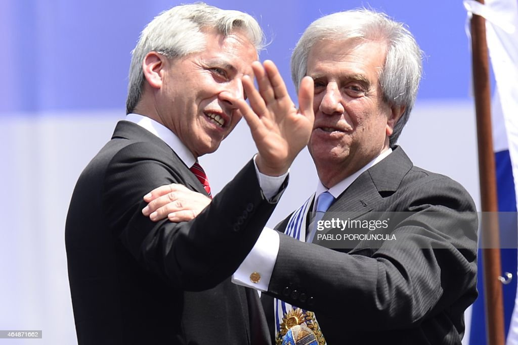 Uruguay's new President <a gi-track='captionPersonalityLinkClicked' href=/galleries/search?phrase=Tabare+Vazquez&family=editorial&specificpeople=546090 ng-click='$event.stopPropagation()'>Tabare Vazquez</a> (R) is greeted by Bolivian Vice President <a gi-track='captionPersonalityLinkClicked' href=/galleries/search?phrase=Alvaro+Garcia+Linera&family=editorial&specificpeople=4606467 ng-click='$event.stopPropagation()'>Alvaro Garcia Linera</a>, during his inauguration ceremony at Independencia Square in Montevideo downtown on March 01, 2015. Cancer doctor <a gi-track='captionPersonalityLinkClicked' href=/galleries/search?phrase=Tabare+Vazquez&family=editorial&specificpeople=546090 ng-click='$event.stopPropagation()'>Tabare Vazquez</a> was sworn in as Uruguay's new president Sunday, returning to office a decade after first leading the left to power. Vazquez took the oath of office in the National Assembly before a crowd that included Brazilian President Dilma Rousseff, Cuban President Raul Castro and other regional leaders.