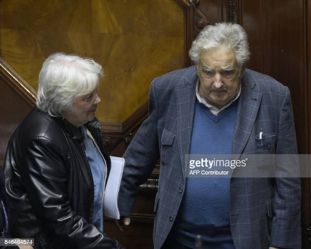 Uruguay's new vicepresident Lucia Topolansky talks with her husband senator and former president Jode Mujica after the swearingin ceremony in...