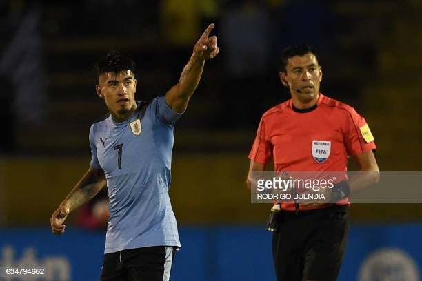 Uruguay's player Joaquin Ardaiz celebrates his second goal against Ecuador during their South American Championship U20 football match at the...