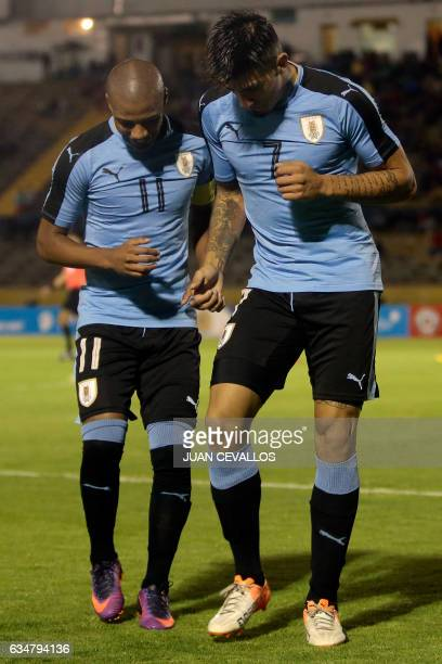 Uruguay's player Joaquin Ardaiz celebrates with teammate Nicolas de la Cruz his second goal against Ecuador during their South American Championship...