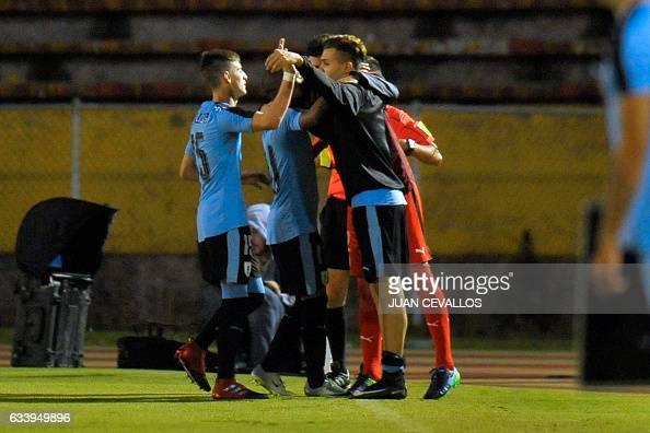FBL-U20-URU-COL. By  JUAN CEVALLOS · Uruguay s player Nicolas De La Cruz  celebrates with teammates a goal against Colombia during ... 321eacb735bb2