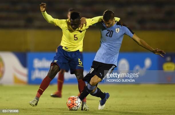 Uruguay's player Rodrigo Bentancur vies for the ball with Ecuador's Juan Nazareno during their South American Championship U20 football match at the...