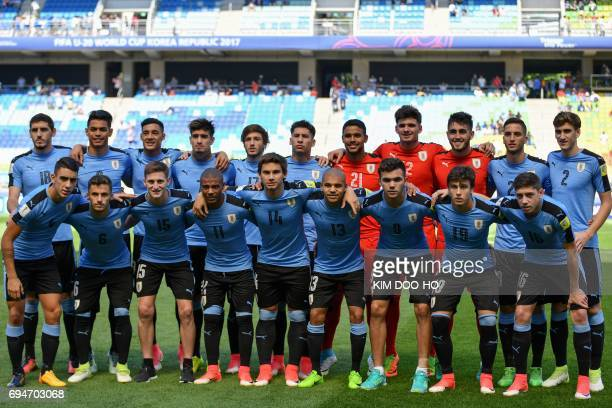 Uruguay's players pose for photographs before the U20 World Cup third place playoff football match between Uruguay and Italy in Suwon on June 11 2017...