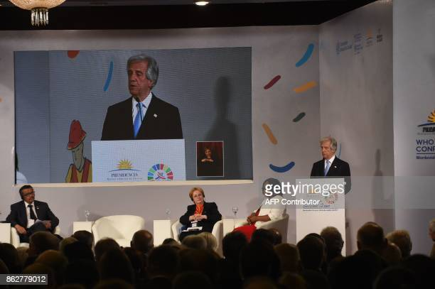 Uruguay's President Tabare Vazquez addresses the Global Conference on Noncommunicable diseases at Mercosur headquarters in Montevideo on October 18...
