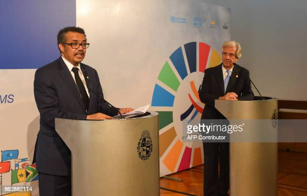 Uruguay's President Tabare Vazquez and Tedros Adhanom Ghebreyesus WHO DirectorGeneral deliver a joint statement during the Global Conference on...