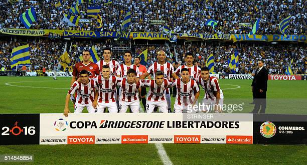Uruguay's River Plate pose for a picture before their Libertadores Cup 2016 football match at the Gigante de Arroyito stadium in Rosario Santa Fe...