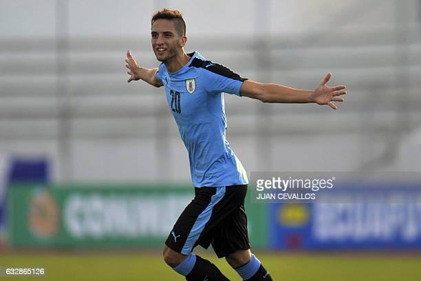Uruguay`s Rodrigo Bentancur celebrates a goal against Bolivia during a South American Championship U20 football match at the Olimpico stadium in...