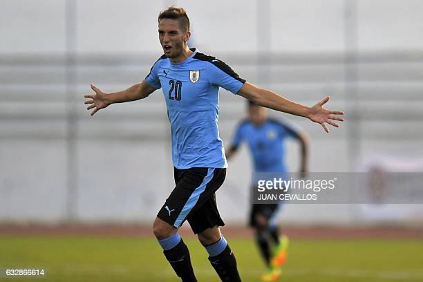Uruguay's Rodrigo Bentancur celebrates a goal against Bolivia during a South American Championship U20 football match at the Olimpico stadium in...