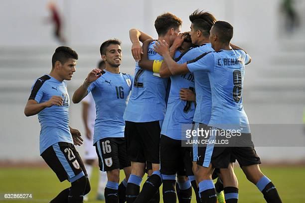 Uruguay`s Rodrigo Bentancur celebrates with teammates a goal against Bolivia during a South American Championship U20 football match at the Olimpico...