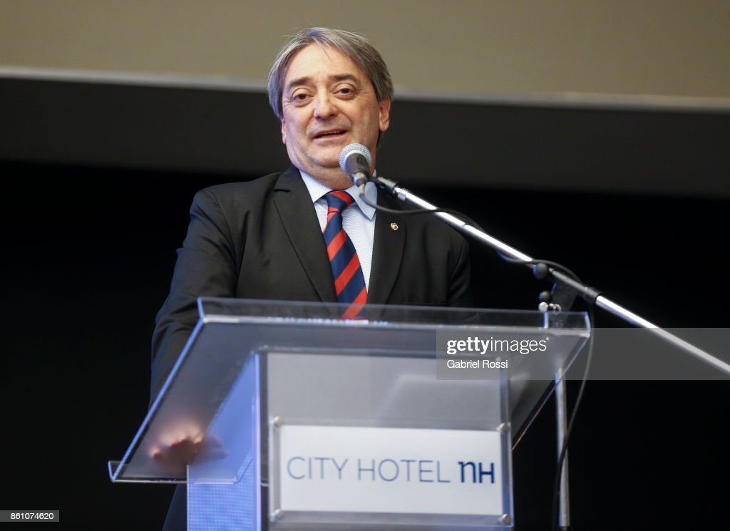 Uruguay's sports secretary Fernando Caceres speaks during the final presentation of Argentina-Uruguay Candidacy For FIBA World Cup 2023 at NH Hotel on October 12, 2017 in Buenos Aires, Argentina.