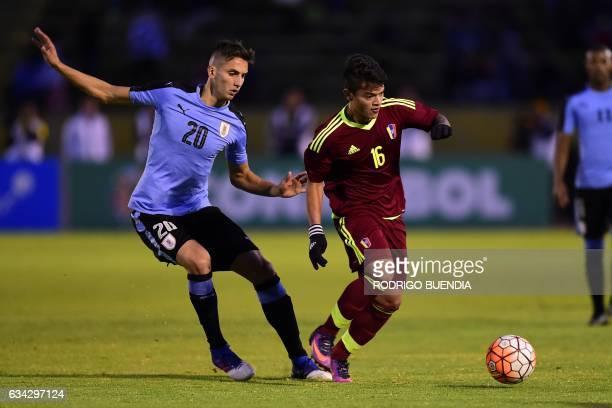 Uruguays's player Rodrigo Bentancur vies for the ball with Venezuela's player Ronaldo Lucena during their South American U20 Championship football...
