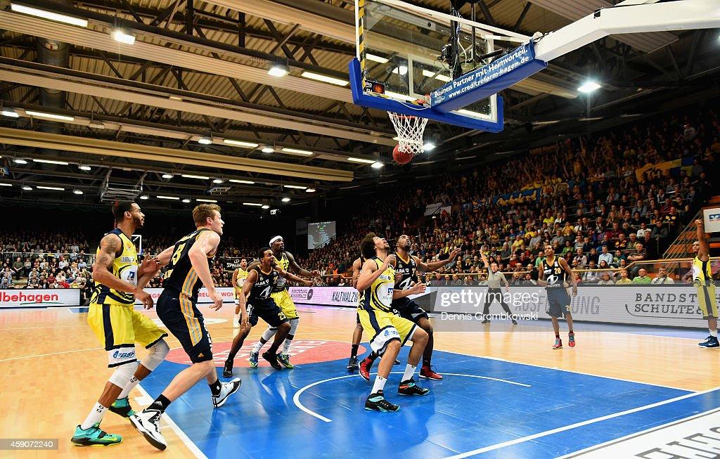 Urule Igbavboa of Phoenix Hagen and Jamel McLean of ALBA Berlin battle for the ball during the Beko BBL Basketball Bundesliga match between Phoenix...