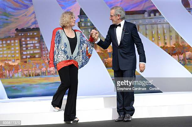 ury president director Steven Spielberg escorts actress Kim Novak on stage at the 'Inside Closing Ceremony' during the 66th Cannes International Film...