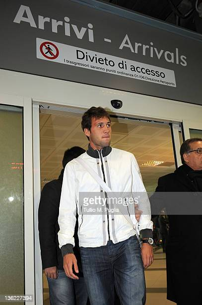 Us Citta di Palermo new signing Franco Vazquez arrives at Falcone Borsellino Airport on December 29 2011 in Cinisi Italy