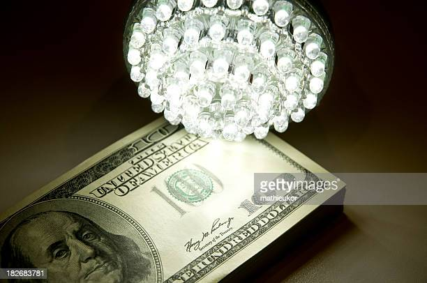 Us currency and led bulb