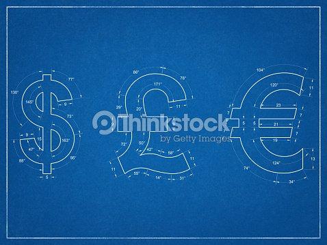Us Dollar British Pound Euro Symbols Blueprint Stock Photo Thinkstock