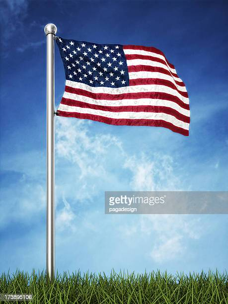 us flag waving on the horizont
