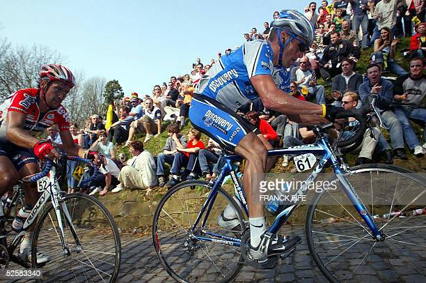 Us Lance Armstrong rides during the 89th Tour of Flanders cycling race between Brugge and Meerbecke 03 April 2005 Belgian Tom Boonen won ahead of...