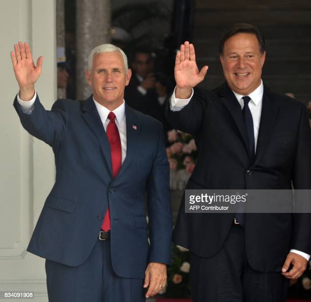 Us Vice President Mike Pence and Panama's President Juan Carlos Varela wave after a meeting at the Las Garzas Palace in Panama City on August 17 2017...