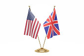 Usa And England Desktop Flag On White Background.With Clipping Path