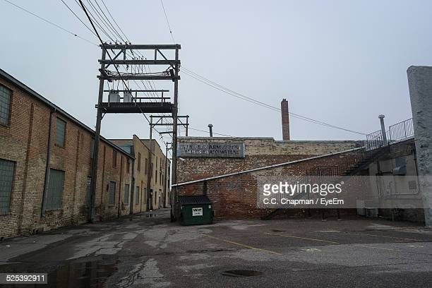 Usa, North Dakota, Fargo, Empty Courtyard of Low-Rise Industrial Complex