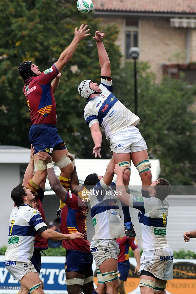 Usa Perpignan's player Guilllaume Vilaceca fights for the ball with Treviso's player Corniel Van Zyl during their European Cup match on October 10...