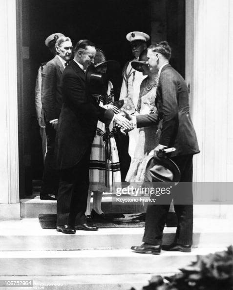Usa, President Calvin Coolidge Welcoming Colonel Charles A ...