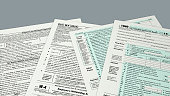 top view of forms for usa taxes (3d render)