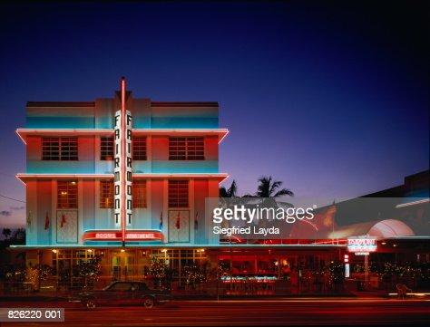 USA,Florida,Miami,Art Deco Historic District,Fairmont Hotel at night