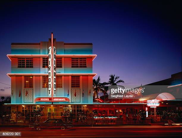 USA,Florida,Miami,Art Deco Historic District,Fairmont Hotel at night