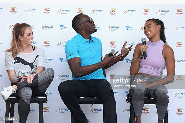 Usain Bolt along with Australian Olympians Anneliese Rubie and Morgan Mitchell speak during the launch of Nitro Athletics on November 4 2016 in...