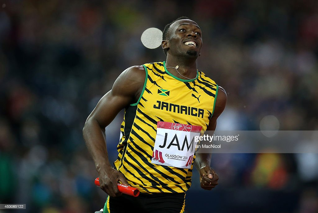 <a gi-track='captionPersonalityLinkClicked' href=/galleries/search?phrase=Usain+Bolt&family=editorial&specificpeople=604196 ng-click='$event.stopPropagation()'>Usain Bolt</a> anchors Jamaica to victory in the Men's 4x100m Relay at Hampden Park during day ten of the Glasgow 2014 Commonwealth Games on August 02, 2014 in Glasgow, United Kingdom.