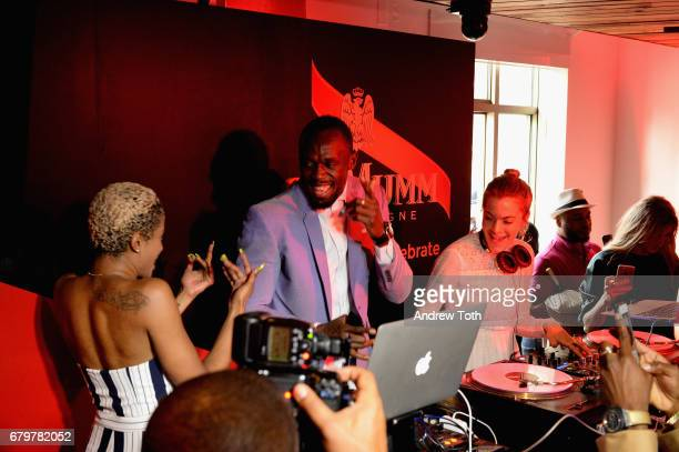 Usain Bolt and Chelsea Leyland DJ at GH Mumm and Usain Bolt's Toast to the Kentucky Derby on May 6 2017 in New York City