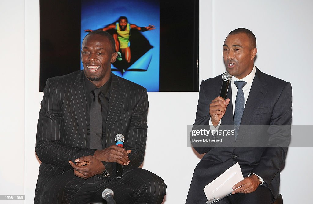 Usain Bolt (L) and Colin Jackson attend the Zeitz Foundation and ZSL Gala at London Zoo on November 22, 2012 in London, England.