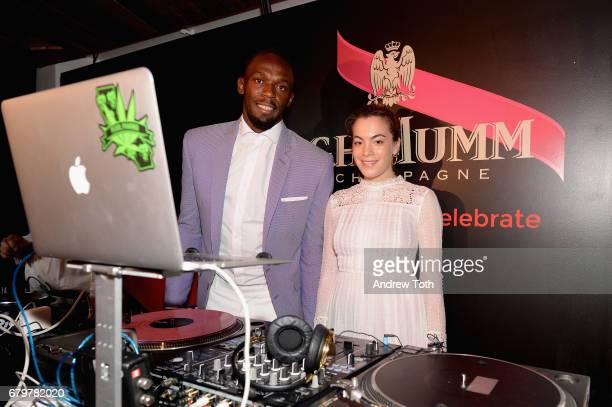 Usain Bolt and DJ Chelsea Leyland attend GH Mumm and Usain Bolt's Toast to the Kentucky Derby on May 6 2017 in New York City