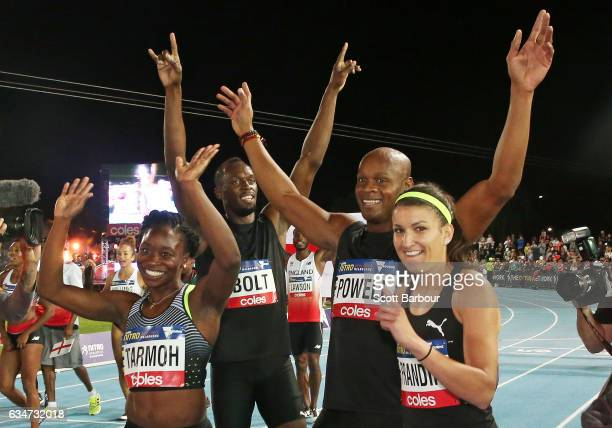 Usain Bolt Asafa Powell Jeneba Tarmoh and Usain Bolt's AllStar team celebrate after winning the event during the Melbourne Nitro Athletics Series at...