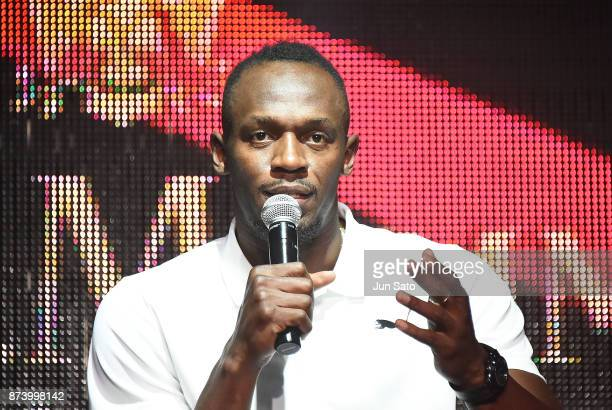 Usain Bolt attends the GH Mumm Champagne promotion at Nicoffare on November 14 2017 in Tokyo Japan