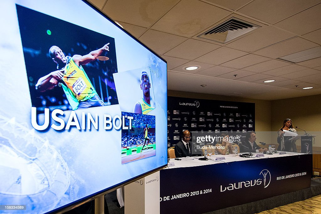 Usain Bolt is one of the Nominees for the 2012 Laureus World Sports Awards at Windsor Atlantica Hotel on December 13, 2012 in Rio De Janeiro, Brazil. The Laureus World Sports Awards is recognised as the premier honours event in the international sporting calendar as stars of the sporting world come together to salute the finest sportsmen and sportswomen of the year.