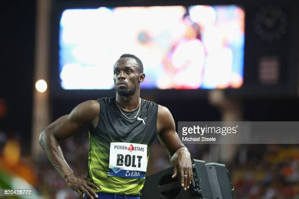 Usain Bolt of Jamaica after victory in the men's 100m during the IAAF Diamond League Meeting Herculis on July 21 2017 in Monaco Monaco