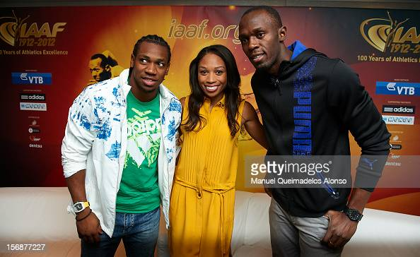 Usain Bolt of Jamaica Allyson Felix of the United States and Yohan Blake of Jamaica pose during the the preview day of the IAAF Athlete of the Year...